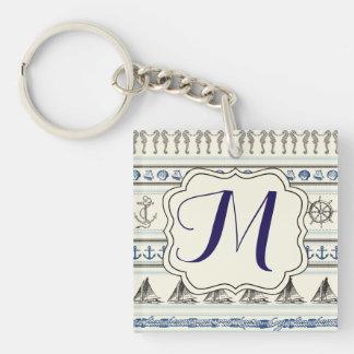 Porte - clé nautique de monogramme de corde porte-clé carré en acrylique double face