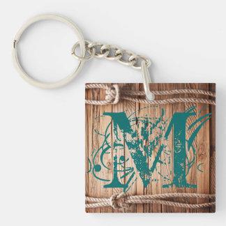 Porte - clé nautique de noeud de corde en bois porte-clé carré en acrylique double face