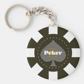 Porte - clé noir de jeton de poker porte-clé rond