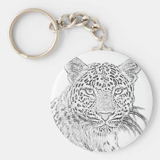 Porte - clé (noir) de léopard porte-clé rond