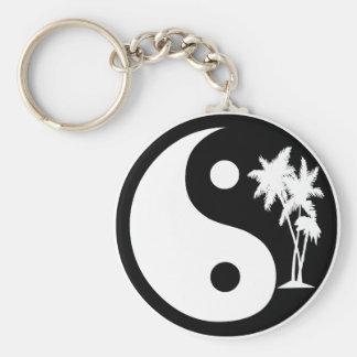 Porte - clé noir et blanc de Yin Yang de palmier Porte-clé Rond