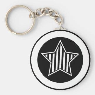 Porte - clé noir et blanc d'étoile porte-clé rond