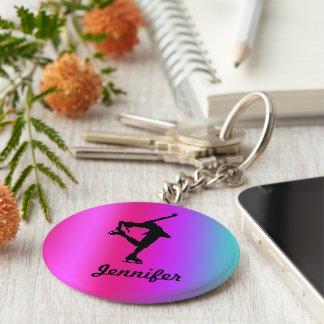 Porte - clé nommé de patineur artistique (rose, porte-clé rond