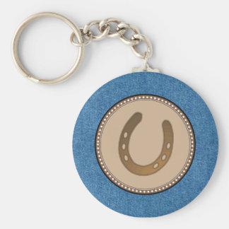 Porte - clé occidental en fer à cheval chanceux porte-clé rond