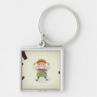 Porte - clé original avec la fille d'ange porte-clé carré argenté