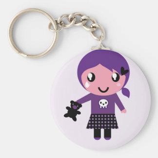 Porte - clé original avec la fille d'Emo Porte-clé Rond