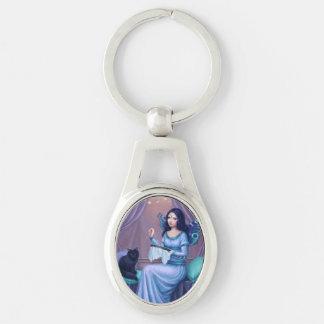 Porte - clé ovale féerique de papillon d'Ariadne Porte-clé Ovale Argenté