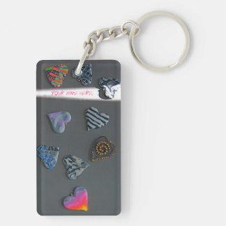 Porte - clé personnalisé de coeurs pour les filles porte-clé rectangulaire en acrylique double face