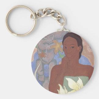 """Porte - clé """"polynésien de femme et de Tiki"""" - Porte-clé Rond"""
