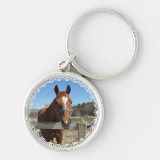 Porte - clé quart doux de cheval porte-clé rond argenté