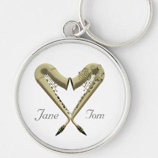 Porte - clé romantique de saxophone de coeur de porte-clé rond argenté