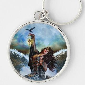 Porte - clé rond d'art de sirène magique de porte-clé rond argenté