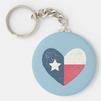 Porte - clé rond de drapeau de coeur du Texas Porte-clé Rond