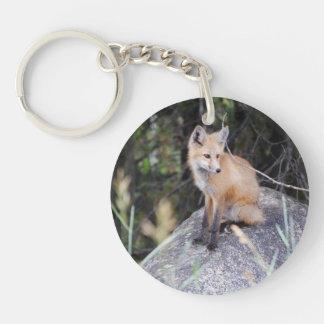 Porte - clé rond de renard rouge porte-clés