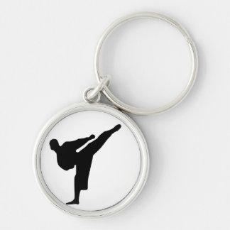 Porte - clé rond de silhouette de coup-de-pied de porte-clé rond argenté