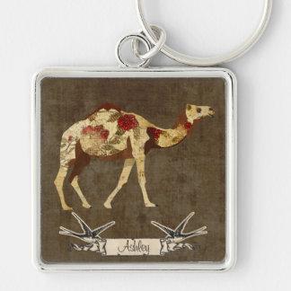 Porte - clé rose de chameau porte-clé carré argenté