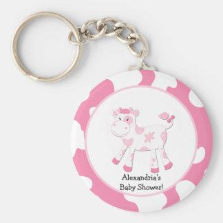 Porte - clé rose de coutume de thème de ferme de porte-clé rond