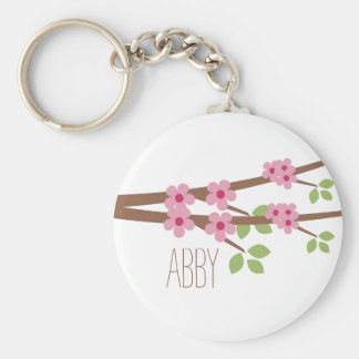Porte - clé rose de fleurs de cerisier - porte-clé rond