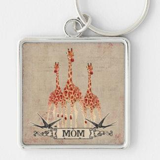 Porte - clé rose de maman de girafes porte-clé carré argenté