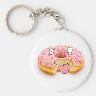 Porte - clé rose heureux mignon de caractère de porte-clé rond