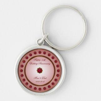 Porte - clé rouge d'anniversaire de mariage porte-clé rond argenté