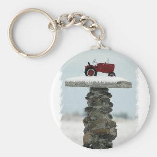 Porte - clé rouge de bouton de tracteur porte-clés