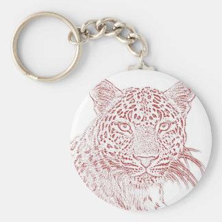 Porte - clé (rouge) de léopard porte-clé rond