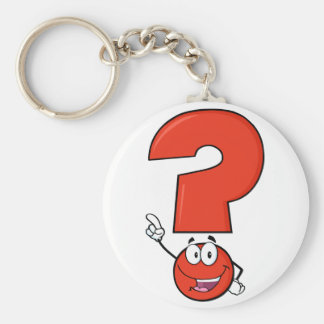 Porte - clé rouge de point d'interrogation porte-clé rond