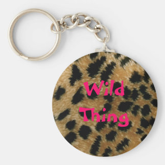 Porte - clé sauvage d'empreinte de léopard de porte-clé rond