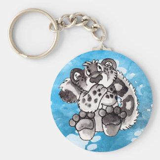 Porte - clé timide de CUB de léopard de neige Porte-clé Rond