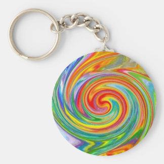 Porte - clé tourbillonnant de couleurs porte-clé rond