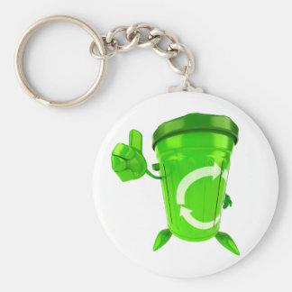 Porte - clé vert de bac de recyclage porte-clé rond