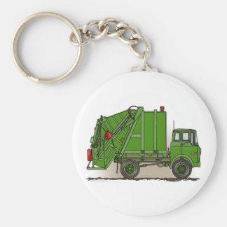 Porte - clé vert de camion à ordures porte-clé rond
