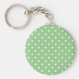 Porte - clé vert de point de polka d'Apple Porte-clé Rond