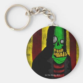 Porte - clé vert de sourire de zombi porte-clé rond