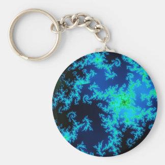 Porte - clé vert et bleu de fractale porte-clé rond