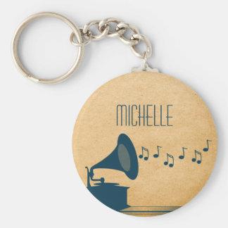 Porte - clé vintage bleu de phonographe porte-clés