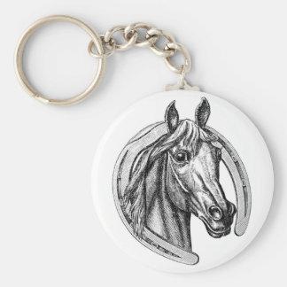 Porte - clé vintage de cheval et de fer à cheval porte-clé rond