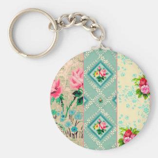 Porte - clé vintage de collage de papier peint porte-clés