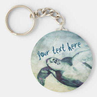 Porte - clé volant de la tortue de mer verte | porte-clé rond
