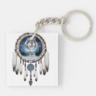 porte clef acrylique dreamcatcher loup couleur porte-clefs