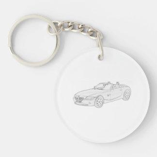 Porte-clefs Acrylique noir et blanc de dessin au crayon de BMW
