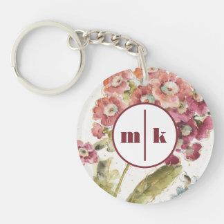 Porte-clefs Ajoutez votre primevère rose du monogramme |