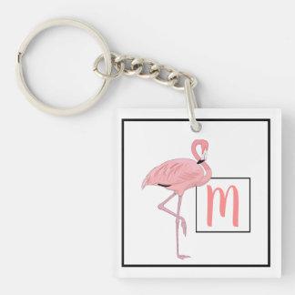 Porte-clefs Aquarelle rose mignonne de flamant de monogramme