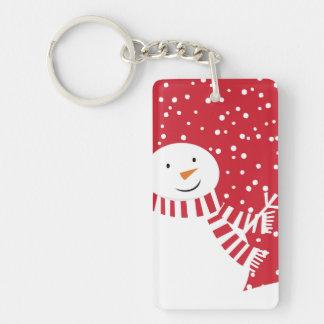Porte-clefs bonhomme de neige rouge et blanc contemporain