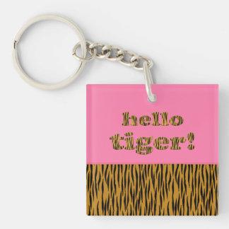 Porte-clefs Bonjour tigre !  citation rose Tigerprint