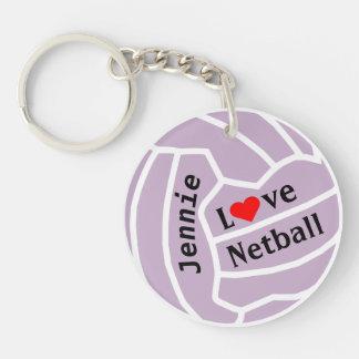 Porte-clefs Boule de net-ball d'amour personnalisée