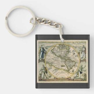 Porte-clefs Carte antique, Amérique Sive Novus Orbis, 1596