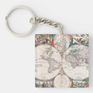 Porte-clefs Carte antique du monde de Double-Hémisphère