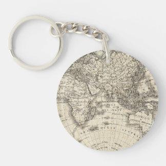 Porte-clefs Carte vintage de l'Europe et de l'Asie